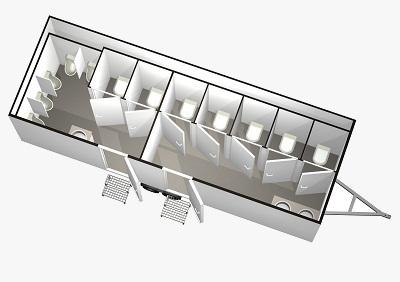 Utánfutós WC konténer (nagy)