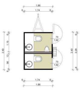 Utánfutós konténer WC (kicsi) alaprajz